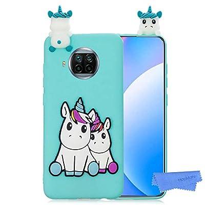 HopMore Funda para Xiaomi Mi 10T Lite 5G Silicona Flexible Blando Divertidas Animal Carcasa Funda Xiaomi Mi 10T Lite 5G Dibujo 3D Soft Case Ultrafina Cover Gracioso - Unicornio Verde