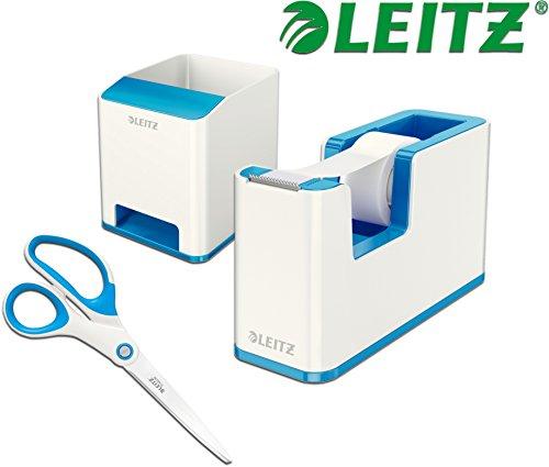 Leitz Wow Schreibtisch Accessoires (Abroller + Köcher + Schere, Weiß ? Blau)