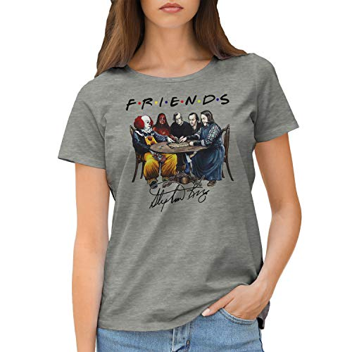 Friends Horror Movies Inspired by Stephen King Characters Anime T-Shirt Femme Gris Size M