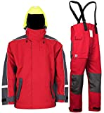 Navis Marine Sailing Jacket with Bib Pants for Men Women Waterproof Breathable Rain Suit Fishing Foul Weather Gear(Red, Medium)