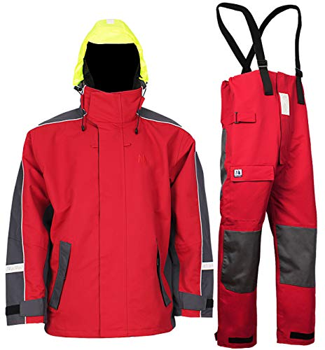 Navis Marine Waterproof Sailing Jacket and Trousers Foul Weather Gear Rain Suit Breathable Windproof (Red, XL)