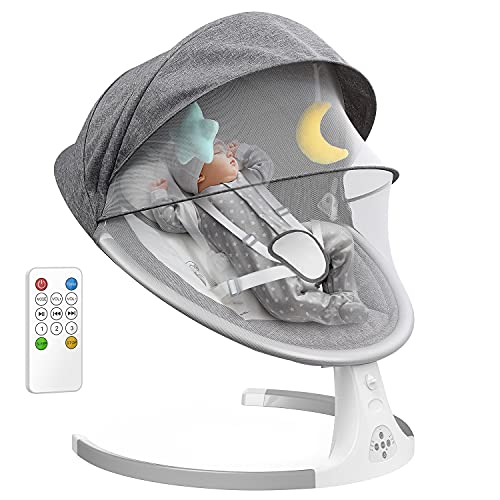 Baby Swing for Infants, Remote Control Baby Rocker w/Removable Crib Netting, Toys, 5-Point Harness, Music, USB, Electric Cradling Bouncer w/ 3 Swing Amplitudes & Timing Function for Newborn Infant