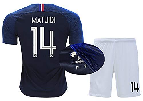 HANWAR PAVARD 2 UMTITI 5 Pogba 6 DEMBELE 11 Edge 13 MATUIDI 14 2020 Europapokal Französisches Trikot Sommer Kindertrikot + Shorts Set kann wiederholt gewaschen werden-14#-22