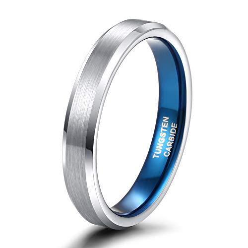 Zakk Ringe Herren Damen Wolfram Gebürstet Silber und Blau Verlobungsringe Eheringe Trauringe Hochzeitsring 4mm 6mm 8mm Größe 47 to 72 (4mm,62 (19.7))