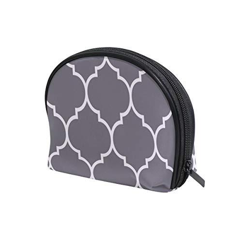 Marokkanische Trellis-Muster, graue Kosmetiktasche für Reisen, Make-up-Tasche mit Reißverschluss, für Damen und Mädchen, Kosmetiktasche