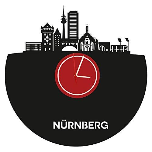 Wanduhr Nürnberg Skylinehochwertige Acrylglas Uhr mit lautlosem Quarzwerk, 3mm Stärke