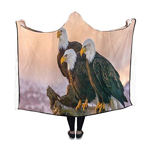 Yushg Mit Kapuze Decke DREI amerikanische Weißkopfseeadler Barsch auf Decke 60 x 50 Zoll Comfotable Hooded Throw Wrap