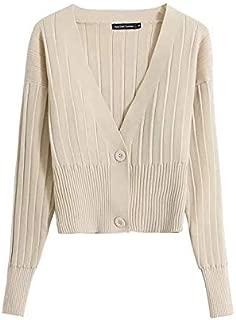 Avocado Green Knit Sweater Women's Autumn Loose Slim Sweater Jacket (Color : Beige, Size : M)