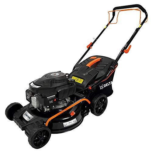 Cortacésped de gasolina DELTAFOX - 46 cm de ancho de corte - Tracción de ruedas - Cesta para la hierba de 50 l - Carcasa de acero - Conexión de limpieza - Ruedas apoyadas sobre rodamientos de