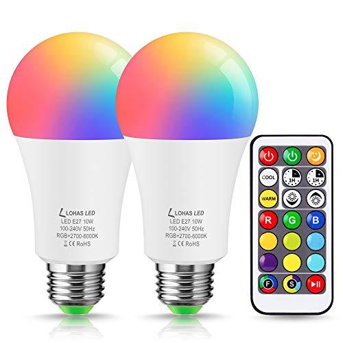 LOHAS LED-Lampe, RGB-Lampe mit Fernbedienung, entspricht 60W, 900 Lumen, dimmbar, 2700K warmweiß bis 6000K kaltweiß, E27, A60, Edison-Schraube, 2er-Pack