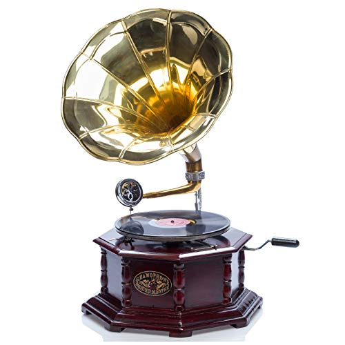 #05 GRAMMOFONO - Grammofono a tromba con piatto in ceralacca stile classico