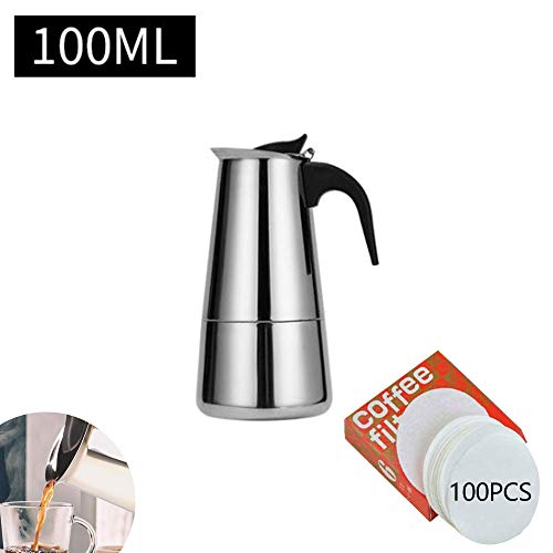YSISLY Stovetop Espresso Maker, 2-12 Cup Stainless Steel Percolator Italian Coffee Maker Induction Cooker Suitable (A 100ML)