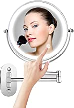 Himimi 7X Wall Mounted Makeup Mirror, Double Sided Swivel Vanity Mirror, Touch Button Adjustable Light, Stainless Steel, Shaving in Bedroom or Bathroom, 8 inch, 4 x AAA Batteries (not Included)