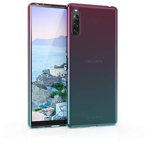 kwmobile Hülle kompatibel mit Sony Xperia L4 - Handyhülle - Handy Hülle Zwei Farben Pink Blau Transparent