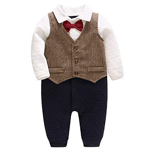 Bebone Baby Jungen Strampler Taufe Hochzeit Babykleidung Langarm Anzug (Braun, 3-6 Monate/66)