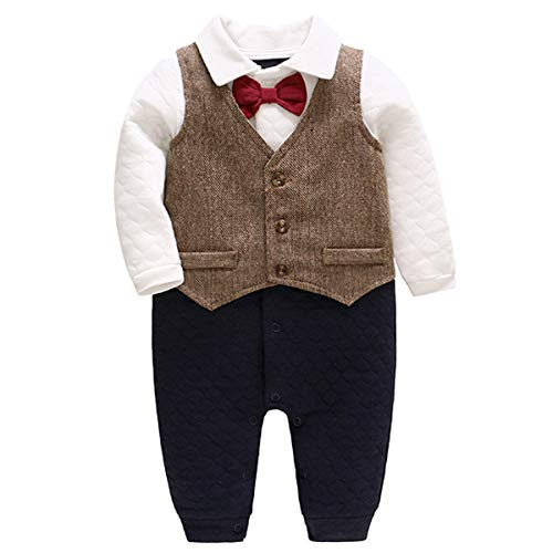 Bebone Baby Jungen Strampler Taufe Hochzeit Babykleidung Langarm Anzug (Braun, 18-24 Monate/90)