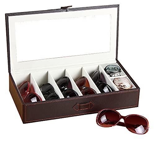 YAPISHI Gafas de Sol Organizador de Piel sintética, 7Ranuras para Gafas Gafas de Sol y Joyas Almacenamiento Pantalla Caso