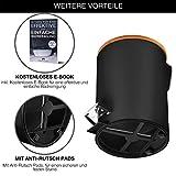 VMbathrooms 3L Kosmetikeimer in edlem schwarzem Design/Tretmülleimer mit Absenkautomatik (Soft Close) / Eleganter Eimer fürs Bad mit Innenbehälter und Bambus-Holzdeckel - 3