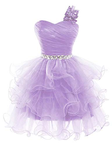 Lilibridal Women's Beaded Puffy One Shoulder Homecoming Pageant Formal Short Dress 10 Lavender