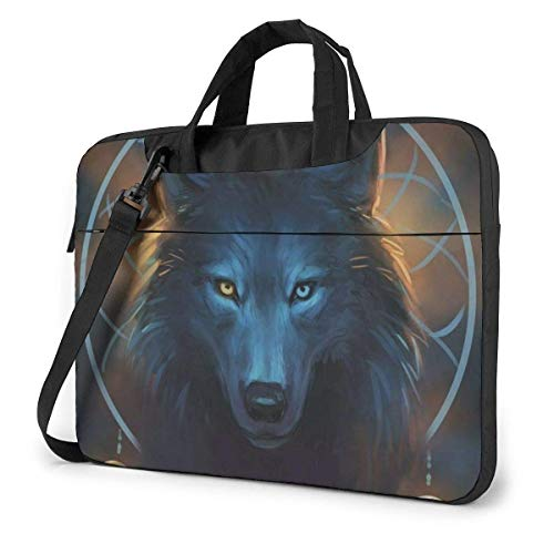 Galaxy Wolf Network Laptop Shoulder Messenger Bag, 15.6 Inch Notebook Sleeve Carrying Case with