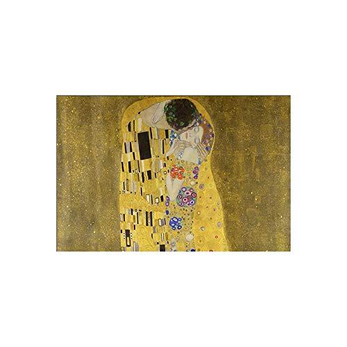 Leinwand Malerei Gustav Klimt Kuss Poster Bilder Klassische Berühmte Cuadros Wandkunst Leinwanddruck Dekorative Gemälde-Rahmenlos-16X24cm