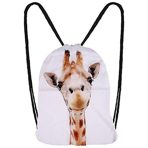Hanessa Jutebeutel mit Giraffen Tier Aufdruck Sportbeutel Tüte Rucksack Beutel Tasche Gym Bag Gymsack Hipster Fashion Sport-Tasche Einkaufs-Tasche Weiß Giraffe