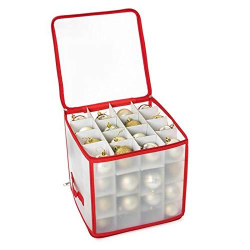 STRIR Weihnachtskugeln Aufbewahrungsbox für 64 Kugeln, Weihnachten Ornament Christbaumkugel Box mit Reißverschluss und Griff, Weihnachtsschmuck Baumschmuck Aufhänger Aufbewahrung Organisation (A)