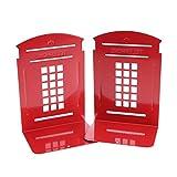 Garneck Soportes para libros de metal resistente antideslizante para libros de metal para cabinas telefónicas 2 unidades Londres (rojo)
