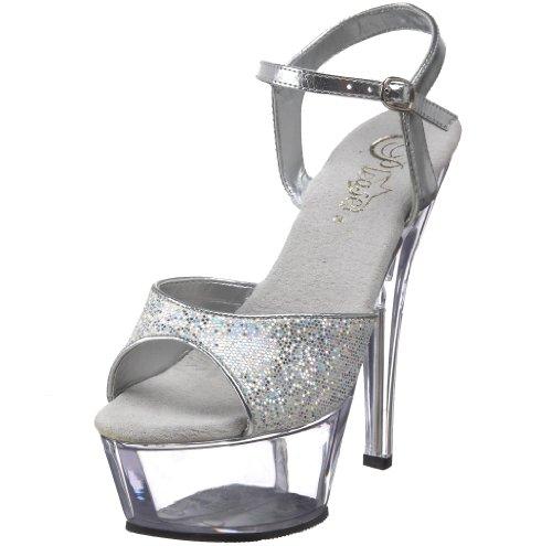Pleaser Damen Kiss-210/Sg/C, Silver Multi Glitter/Clear, 38 EU