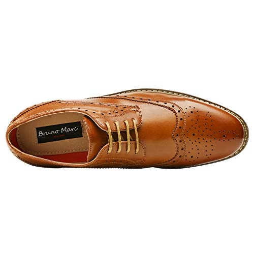 Bruno HOMME MODA ITALY PRINCE Men's Classic Modern Oxford Wingtip Lace Dress Shoes,PRINCE-3-BROWN,8.5 D(M) US