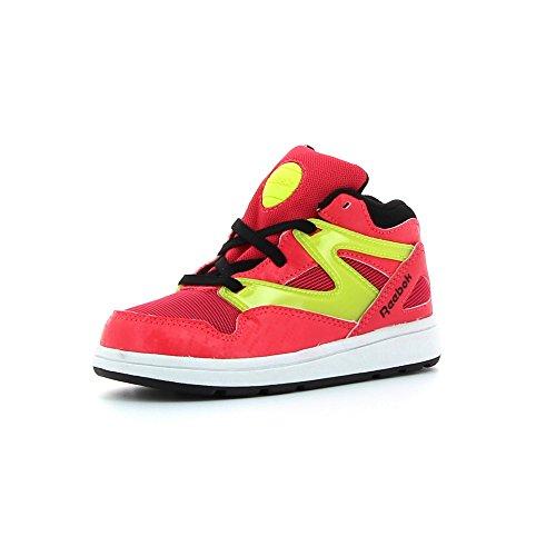 Reebok Versa Pump Omni Lite, Zapatos de Primeros Pasos Unisex bebé, Rosa/Negro/Amarillo/Blanco (Fearless Pink/Blck/Solar Yellow/Wht), 25 1/2