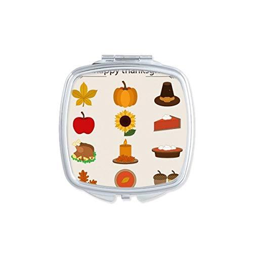 DIYthinker Thanksgiving Day Turquie Aquarelle Motif carré Maquillage Compact Miroir de Poche Miroirs Mignon Petit Cadeau Portable à la Main Multicolor