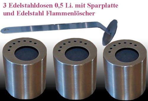 3 boîtes en acier inoxydable (0,5 litres, vide) rempli de laine céramique + 3 correspondant à économie d'énergie des lecteurs