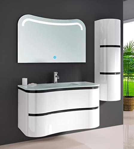 Oimex Felice 90 cm inkl. Seitenschrank + LED Spiegel Design Badmöbel Set Hochglanz Weiß Badezimmer Set mit viel Stauraum Waschtisch Glaswaschbecken