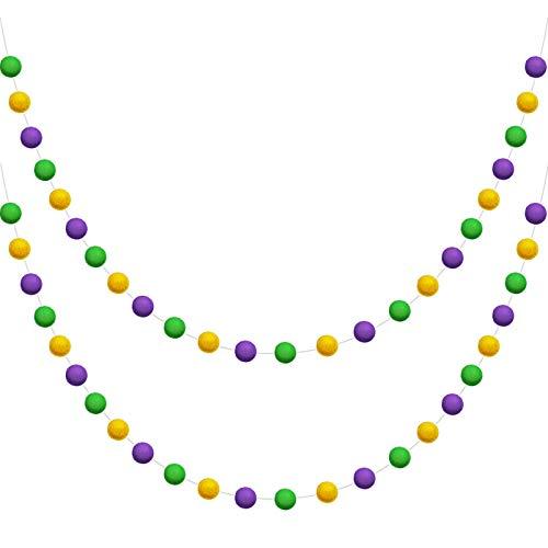 WILLBOND Wool Felt Ball Garland Colorful Pom Pom Garland 6.5 Feet Long 24 Balls Garland for Mardi Gras St. Patrick's Day Easter Home Wall (Purple, Green, Yellow,2 Pieces)