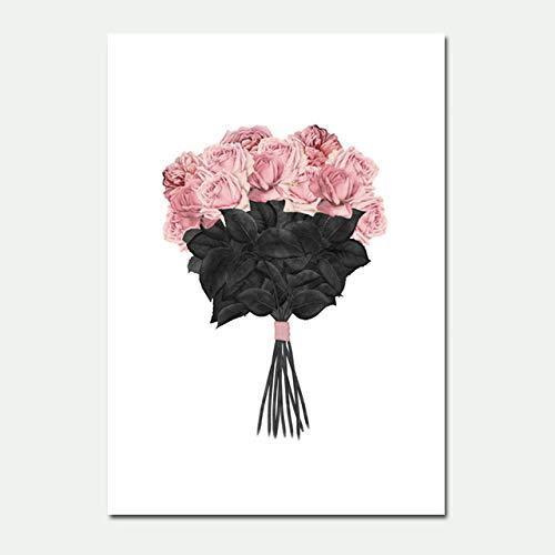Nordische Plakate, Schönheitsplakate, Lippenstift, Wandkunst, rosa Blumenleinwand, Pop-Malerei,...