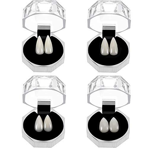 4 Paare Halloween Vampir Zähne Zähne Zahnprothesen Vampire Falsche Zähne mit Aufbewahrungsbox für Cosplay Halloween Themen Party Favors Foto Prop Trick Spielzeug, 4 Größen
