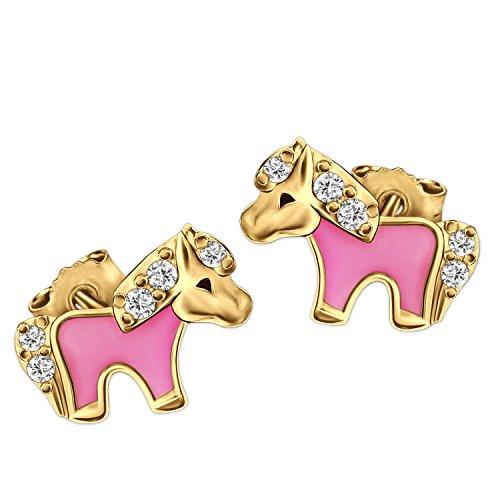 CLEVER SCHMUCK Vergoldete Mini Ohrstecker kleines Pony 8 x 5 mm teils rosa lackiert, mehrere Zirkonia glänzend Sterling Silber 925 Gold-plattiert