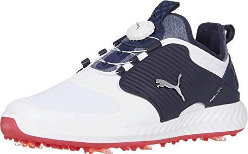 PUMA mens Ignite Pwradapt Caged Disc Golf Shoe, Puma White-puma Silver-peacoat, 10.5 US