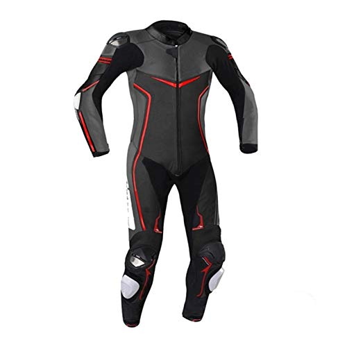 Motorcycle Black One Piece Leather Racing 363 Suit CE Approved Protection (4XL)