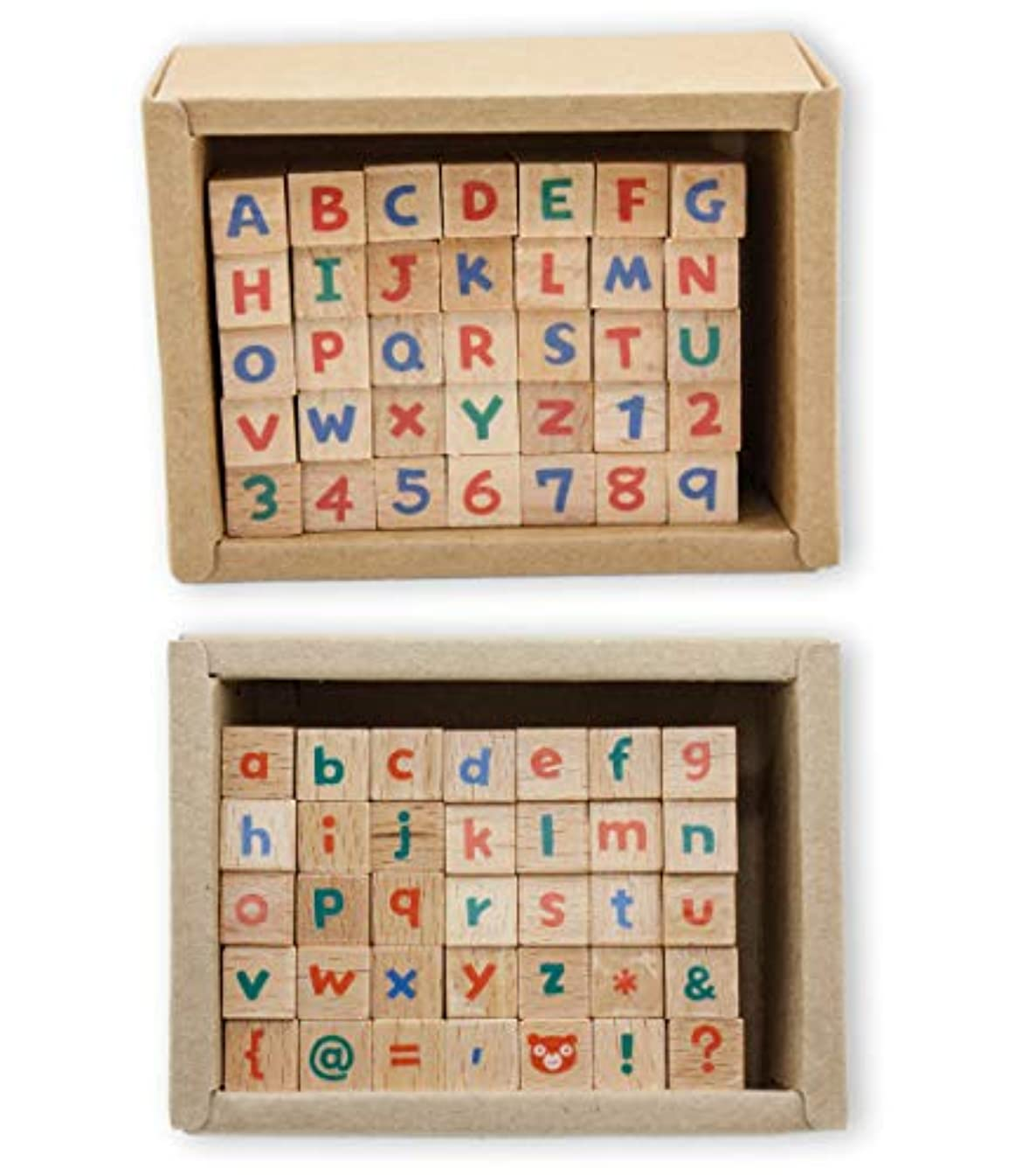 Micia Crafts 70 Pcs Alphabet Numbers & Letters Wooden Rubber Stamp Set Scrapbook