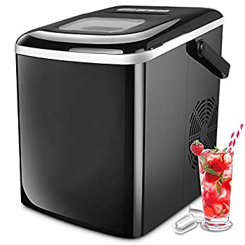 Astrong Ice Maker Portable Countertop Ice Makers SONIC Crushed Nugget Ice Maker- Make Ice 26LBS/24H 8-10 Mins Quick Ice Maker Machine with Ice Scoop and Basket for Home/Office/Bar  Black