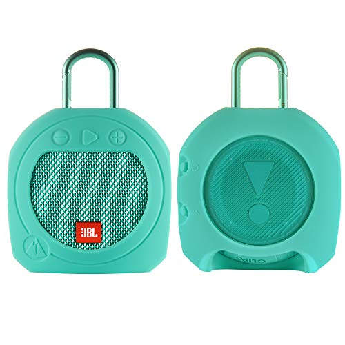 TXEsign Protective Silicone Stand Up Case for JBL Clip 3 Waterproof Portable Bluetooth Speaker (Teal)