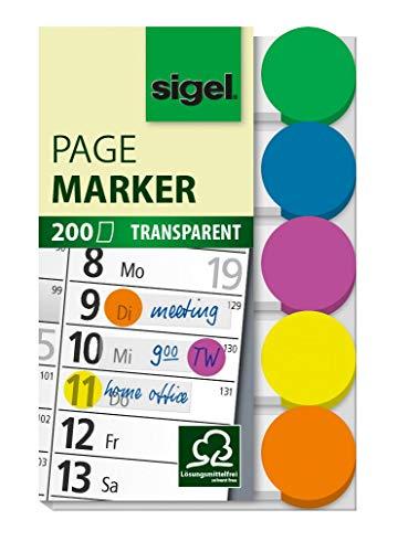 SIGEL HN301 transparente Klebepunkte / Markierungspunkte, 200 Mini-Streifen im Format 15 x 50 mm, 5 Farben - weitere Modelle
