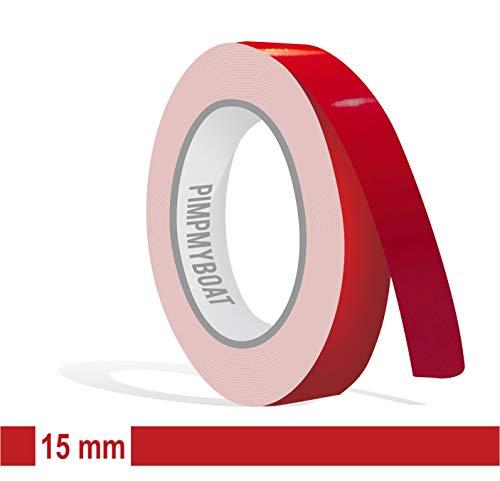 Siviwonder Zierstreifen rot Karmin Glanz in 15mm Breite und 10 m Länge Aufkleber Folie für Auto Boot Jetski Modellbau Klebeband Dekorstreifen - Karminrot