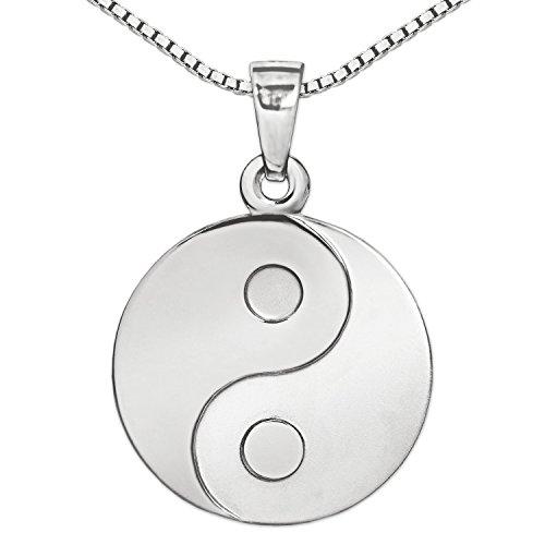 CLEVER SCHMUCK Set Silberner Anhänger Yin Yang rund als Münze Ø 16 mm seidenmatt und glänzend mit Kette Venezia 45 cm Sterling Silber 925
