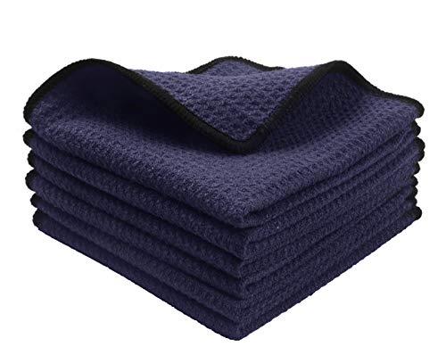 KinHwa Mikrofaser-Reinigungstücher Super Weiche Reinigungstücher Waschbar Saugstark Umweltfreundlich Reißfest Mikrofasertücher 30CM x 30CM 6 Stück (Dunkelblau, 30cmx30cm)