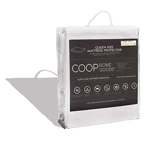 COOP HOME GOODS – Mattress Protector – Soft and Noiseless - Waterproof and Hypoallergenic - Protect Your Mattress Against Fluids/Spills/Mites/Bed Bugs - Oeko-TEX Certified Lulltra® Fabric - Queen