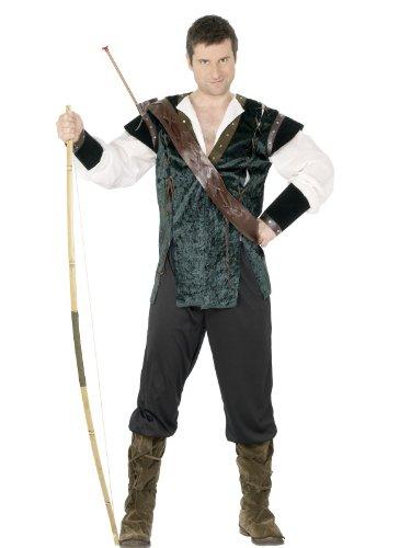 Smiffys Costume Robin des bois, vert, avec pantalon, chemise, ceinture avec porte flèche L