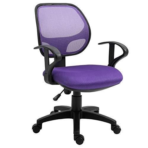 IDIMEX Kinderdrehstuhl Schreibtischstuhl Drehstuhl Bürodrehstuhl COOL, 5 Doppelrollen, Sitzpolsterung, Armlehnen, in lila